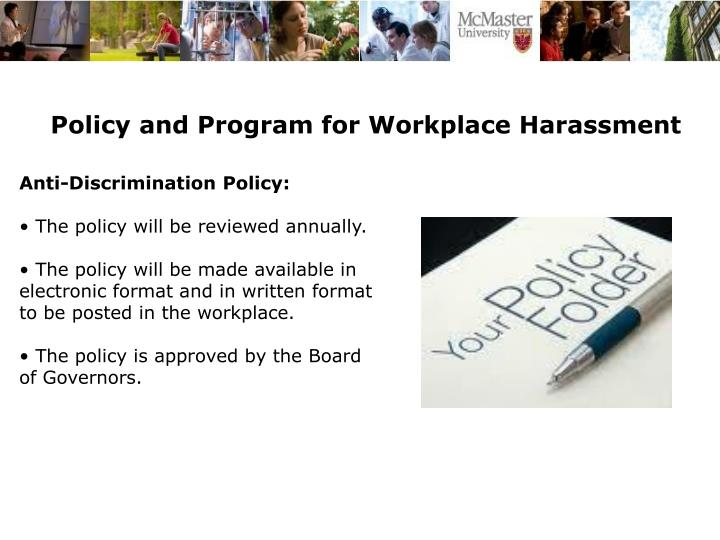 Policy and Program for Workplace Harassment