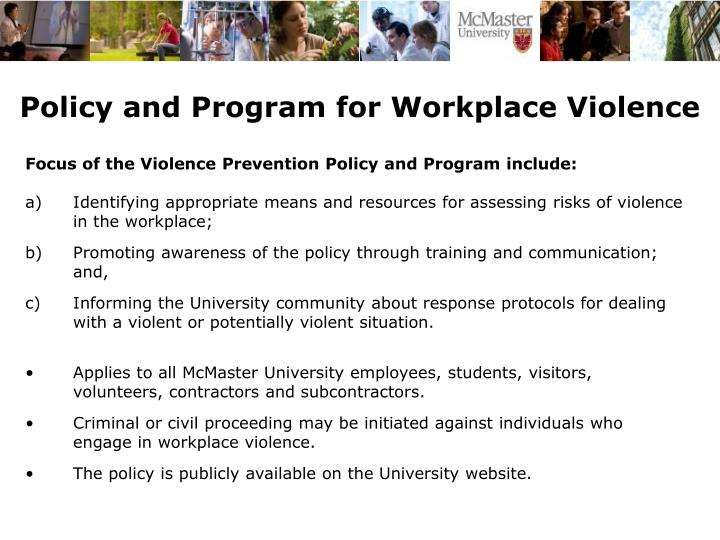 Policy and Program for Workplace Violence