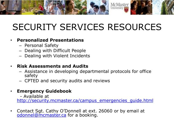 SECURITY SERVICES RESOURCES