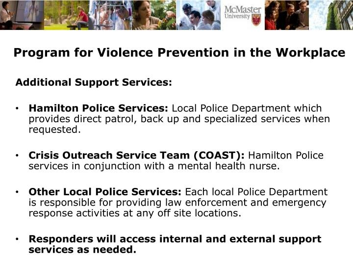 Program for Violence Prevention in the Workplace