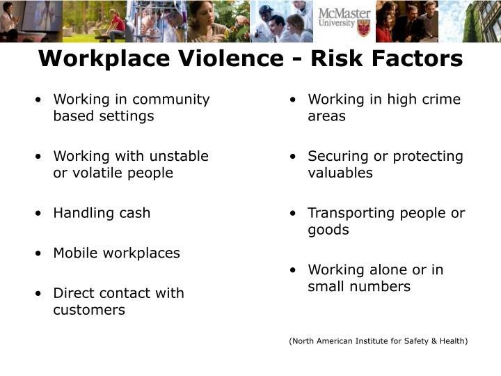 Workplace Violence - Risk Factors