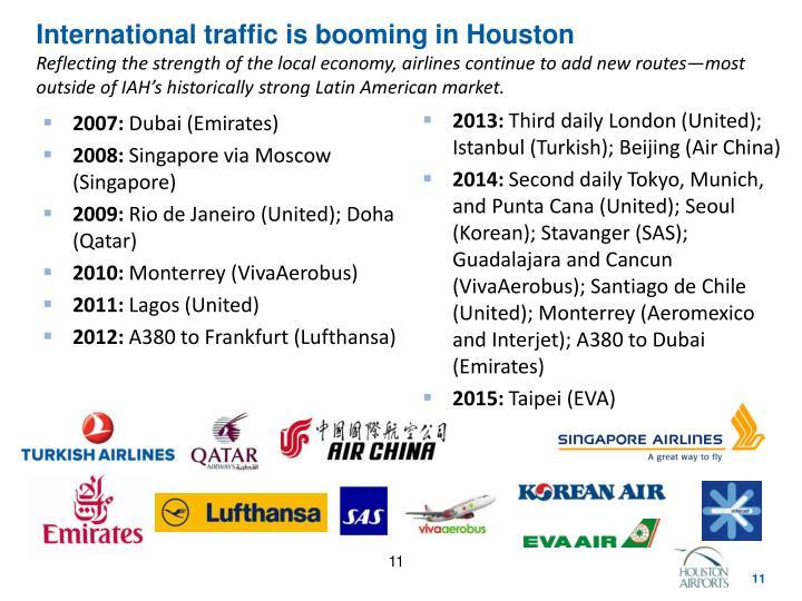 International traffic is booming in Houston