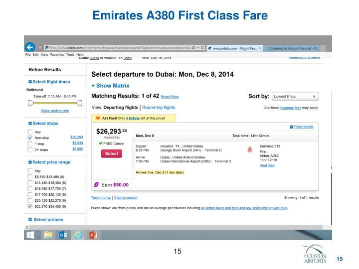 Emirates A380 First Class Fare