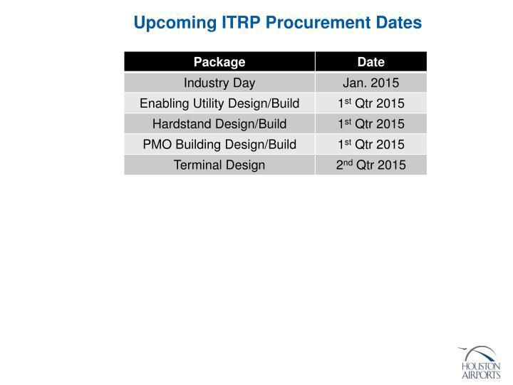 Upcoming ITRP Procurement Dates