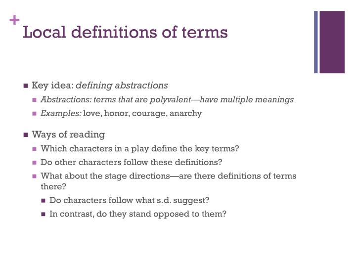 Local definitions of terms