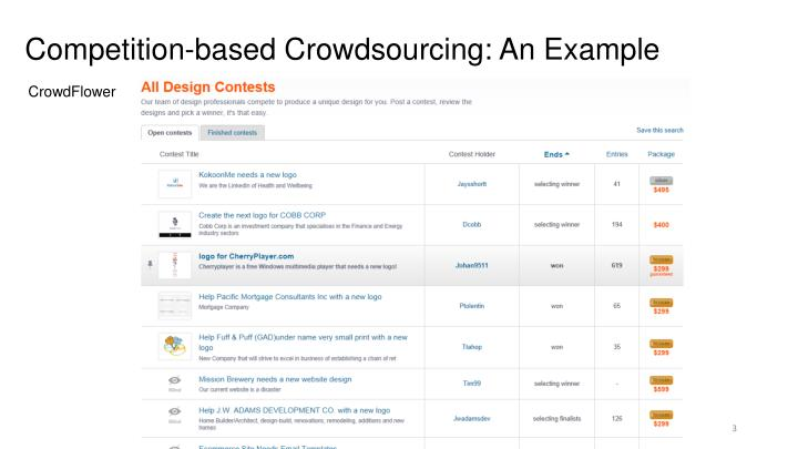 Competition based crowdsourcing an example