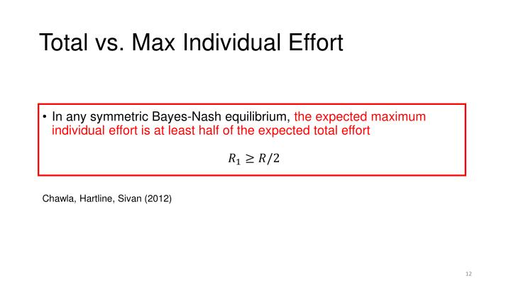 Total vs. Max Individual Effort
