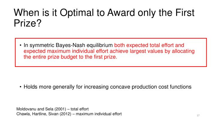 When is it Optimal to Award only the First Prize?