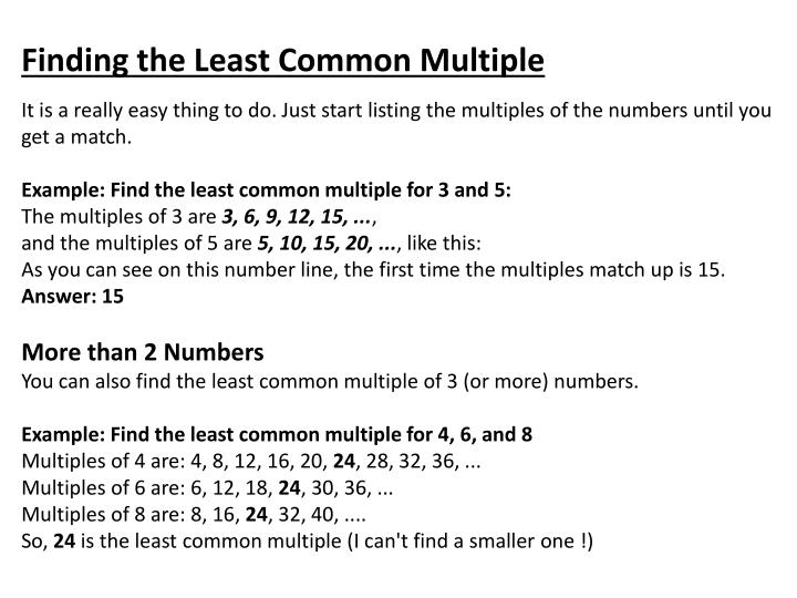 Finding the Least Common Multiple