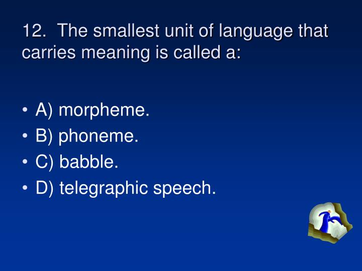 12.  The smallest unit of language that carries meaning is called a: