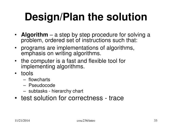 Design/Plan the solution