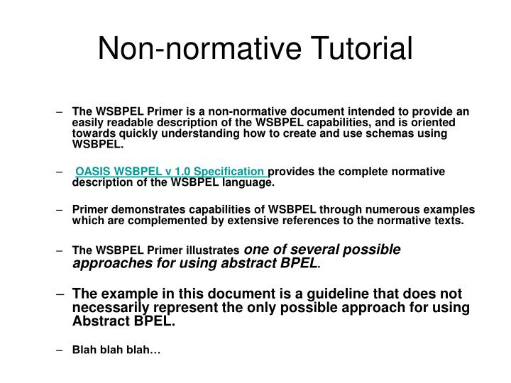Non-normative Tutorial