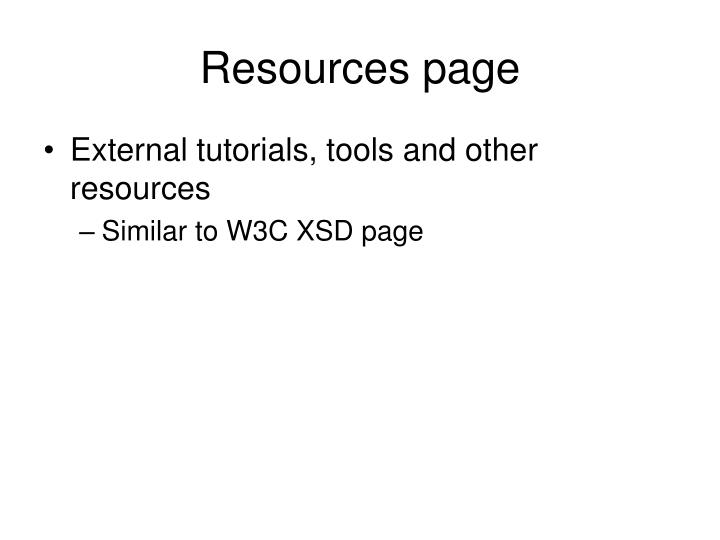 Resources page