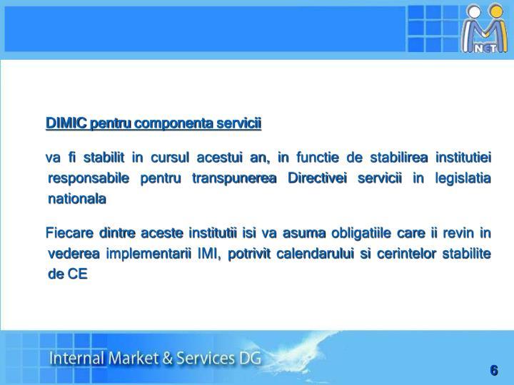 DIMIC pentru componenta servicii