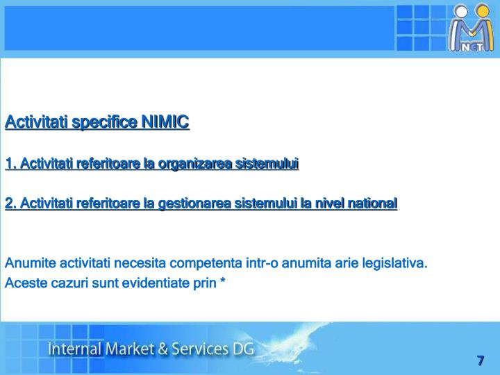 Activitati specifice NIMIC