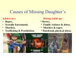 causes of missing daughter s1