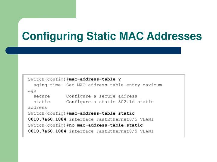 Configuring Static MAC Addresses
