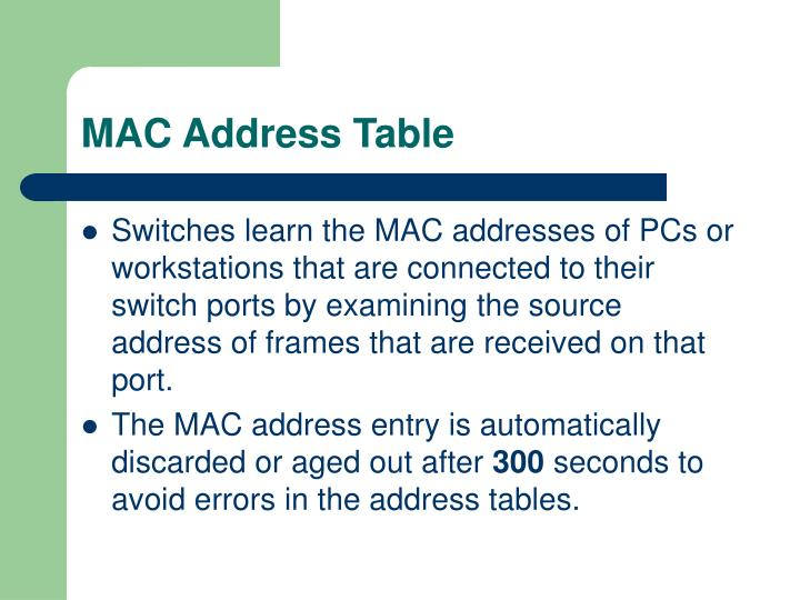MAC Address Table