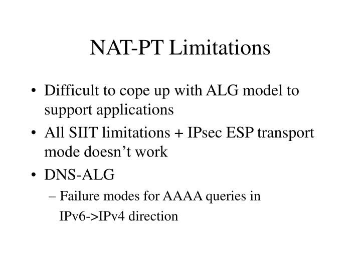 NAT-PT Limitations
