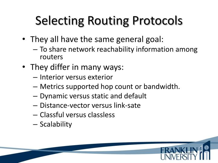 Selecting Routing Protocols