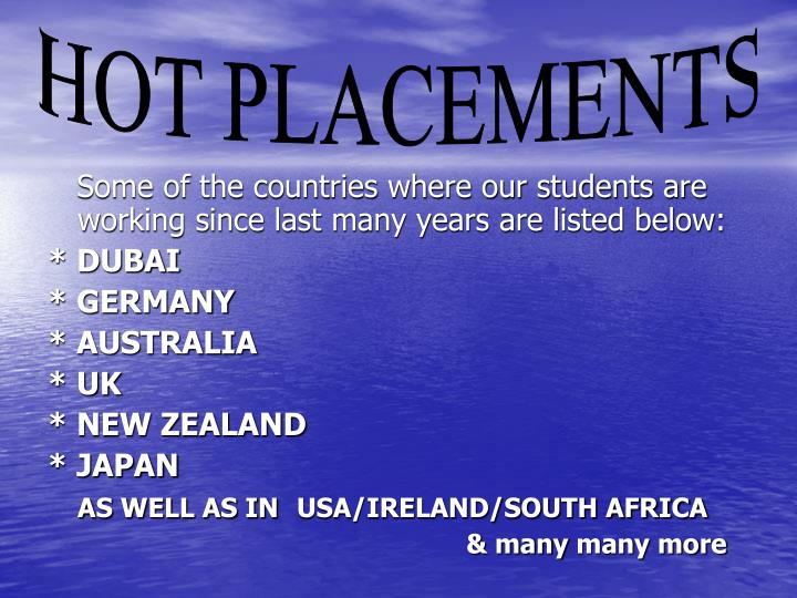 Some of the countries where our students are working since last many years are listed below: