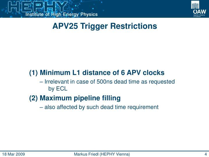 APV25 Trigger Restrictions