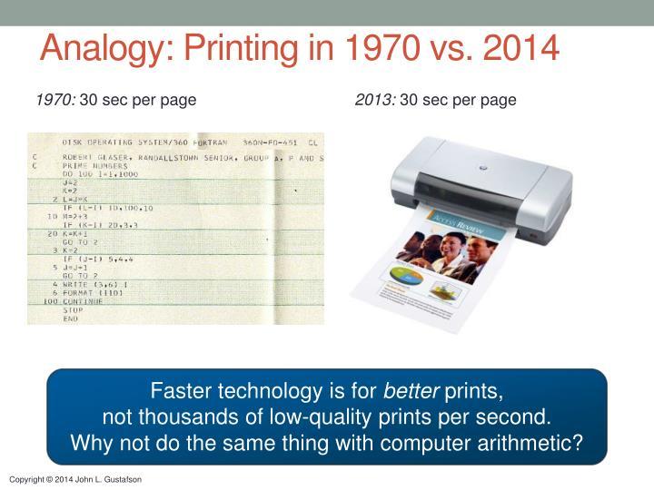Analogy: Printing in 1970 vs.