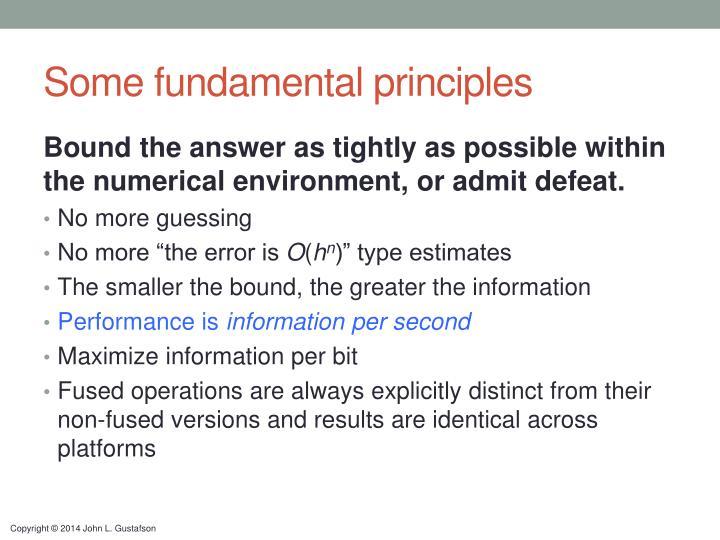Some fundamental principles
