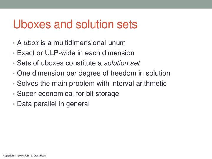 Uboxes and solution sets
