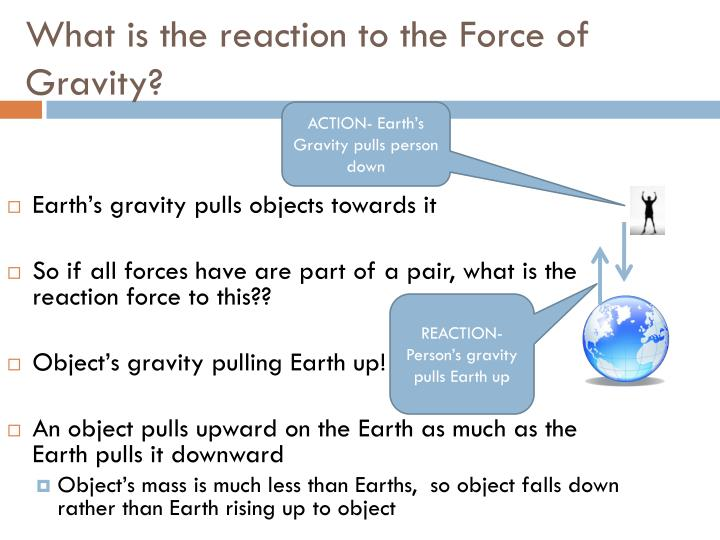 What is the reaction to the Force of Gravity?