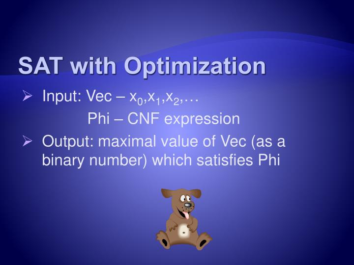 SAT with Optimization