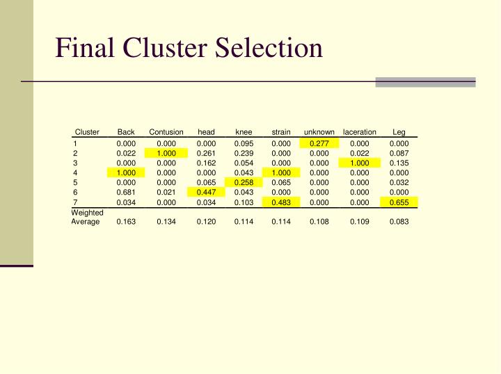 Final Cluster Selection