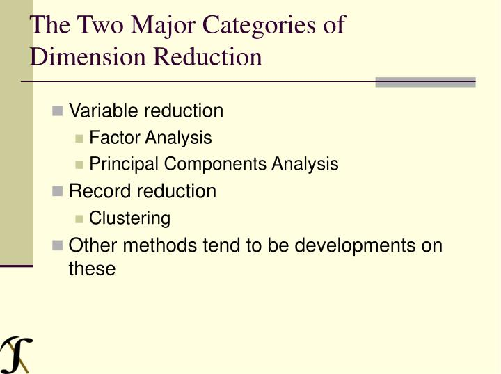 The Two Major Categories of Dimension Reduction