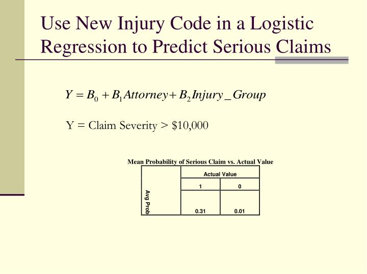 Use New Injury Code in a Logistic Regression to Predict Serious Claims