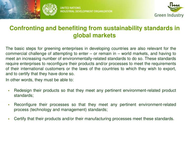 Confronting and benefiting from sustainability standards in global markets