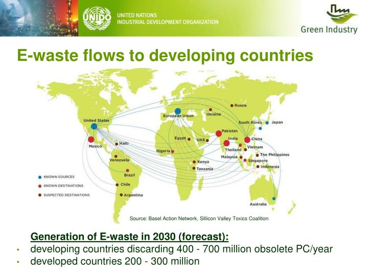 E-waste flows to developing countries