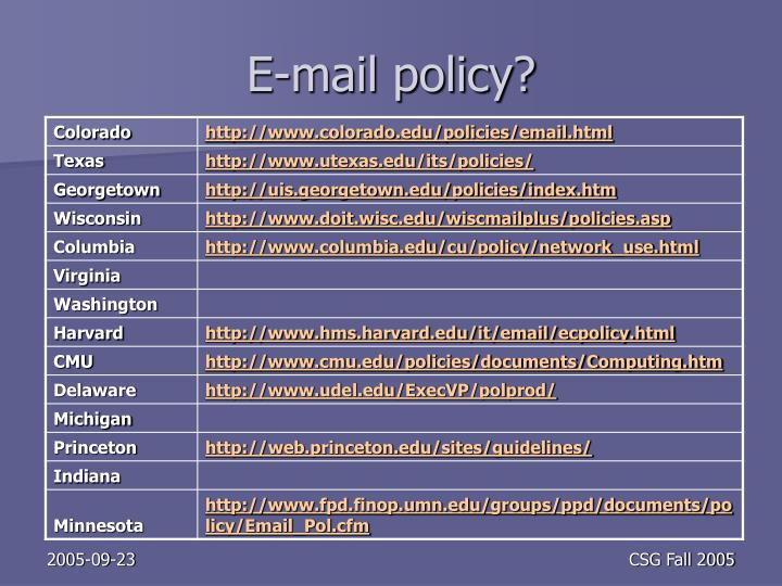 E-mail policy?