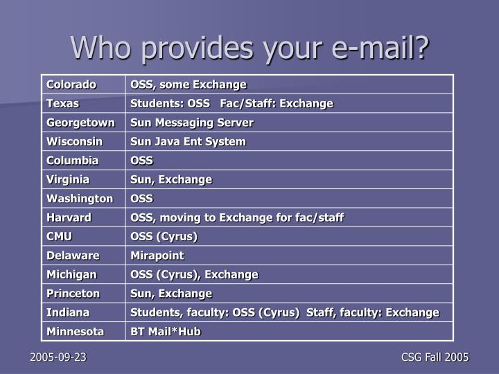 Who provides your e-mail?