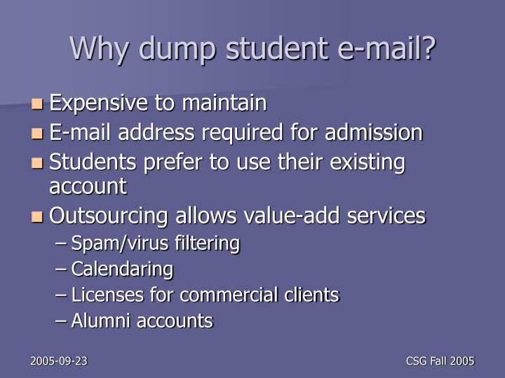 Why dump student e-mail?