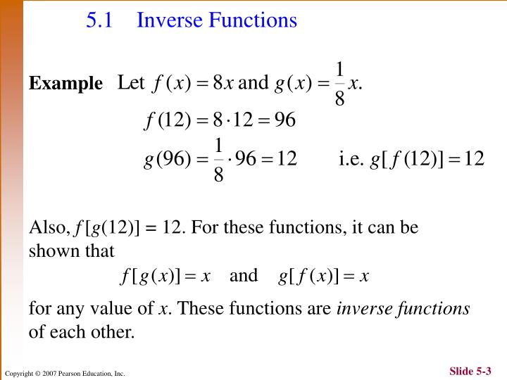 5.1 Inverse Functions