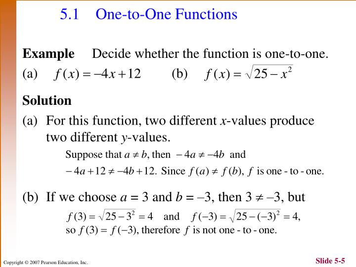 5.1 One-to-One Functions