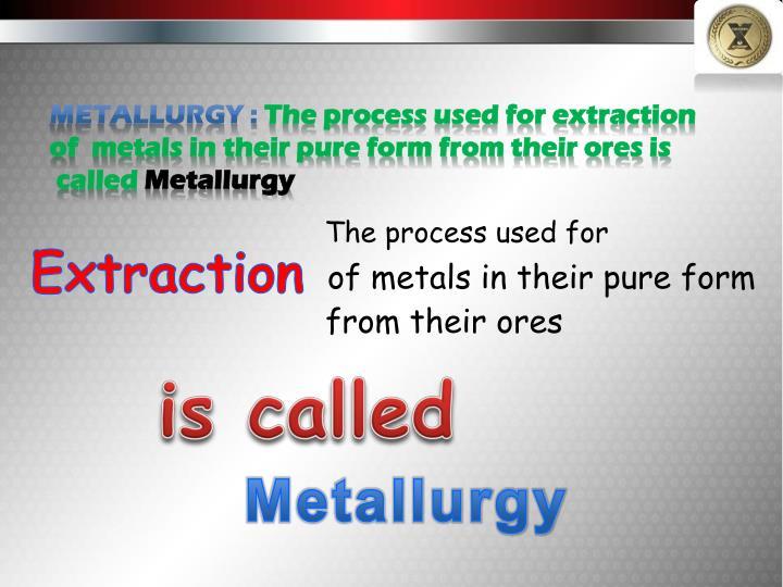 Metallurgy :