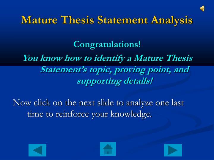 Mature Thesis Statement Analysis