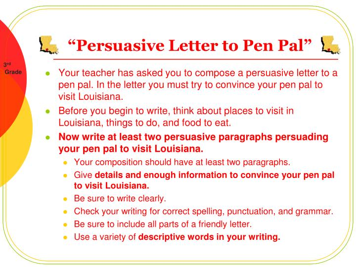 Persuasive letter to pen pal