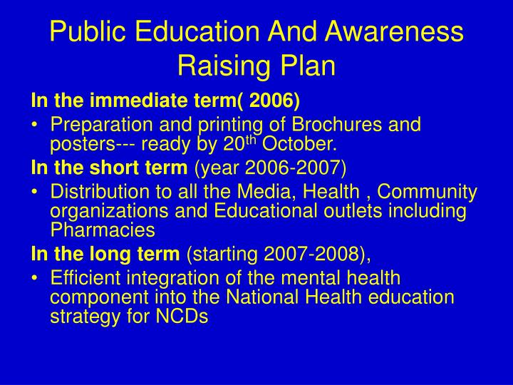 Public Education And Awareness Raising Plan