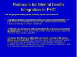 rationale for mental health integration in phc