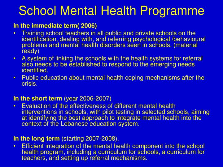 School Mental Health Programme