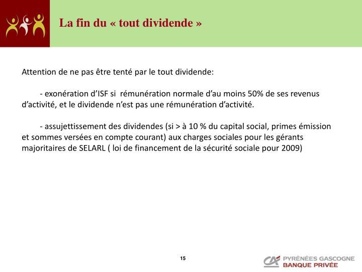 La fin du «tout dividende»
