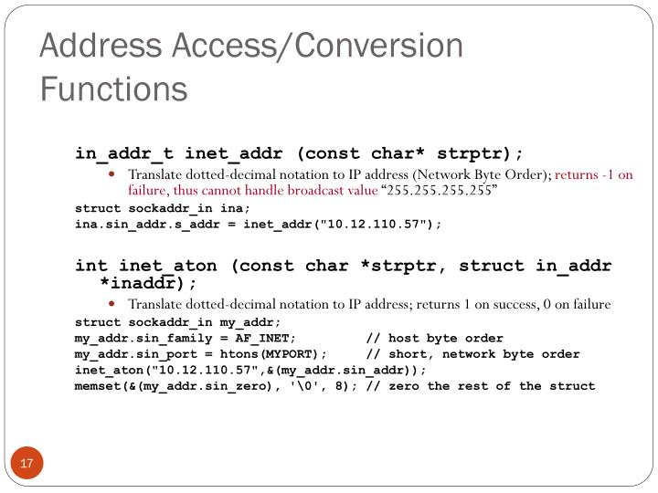 Address Access/Conversion Functions