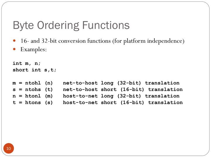 Byte Ordering Functions